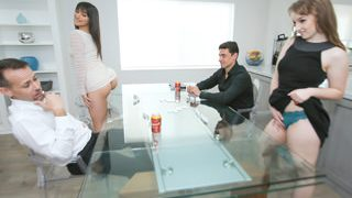 Brooklyn Gray And Cleo Clementine fight and fuck in the kitchen