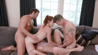 Ashley Red and Luna Light share fathers cocks and cumshots
